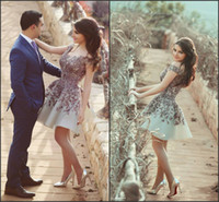 Wholesale Engagement Short Dress - 2017 Off the Shoulder Short Prom Dresses with Vintage Lace Appliques A Line Backless Sassy Party Gowns Stunning Engagements Dresses Custom