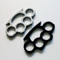 Wholesale brass knuckle silver - 3pcs Knuckles Classical Thin Shape Silver and Black Thin Steel Brass knuckle dusters