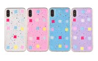 Sparkling Glitter Jelly Cell Phone Cases Soft TPU Shell com Rhinestone de cristal quadrado para iphone X 7 8 plus 6 6s plus