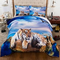 Wholesale Beach Quilt Cover Set - 3D Tiger Beach Duvet Cover Set 3PC Bedding Set Quilt Cover Pillowcase US Twin Full Queen King Size UK Single Double King
