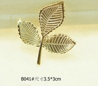 Barato Clipes De Contas De Liga-20pcs 5 Design Alloy Leaf Beads Button com furo para Scrapbooking Craft DIY Hair Clip Acessórios de moda
