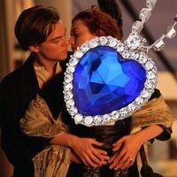 filmes do oceano venda por atacado-Cadeia de cristal coração da colar do oceano pingentes de luxo coração de diamante colares Titanic para filme de jóias mulheres declaração