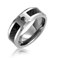 Wholesale Classic Mens Rings - Best seller classic Mens Black CZ diamond Tungsten Wedding Band Ring Carbon Fiber Inlay anel anillos bague rings for men