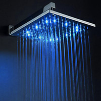 Wholesale Self Powered Led Shower Head - High Quality Faucet Accessories 8 10 12 inches bathroom shower wall mounted self power colorfule led top shower