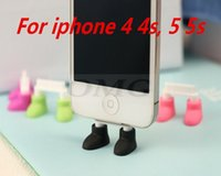 Wholesale Dust Plug Shoes - Wholesale-Cute shoes Stand dust plug for iphone 4 4s iphone 5 5s ipod nana mobilephone plug for iphone 5 5s with retail package
