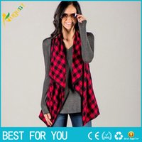 Wholesale Plus Size Long Vest - Fashion Winter Women Sleeveless Waistcoat Plaid&Check Long Vest Jacket Cardigan Plus Size S-2XL