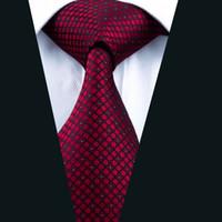 soie rouge foncé achat en gros de-Cravate rouge foncé d'affaires classique en soie tissée Jacquard 8.5cm largeur 150cm longueur T-shirt de costume formel D-0704