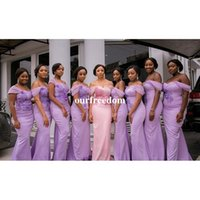 Wholesale Cheap Mermaid Maxi Dress - Light Purple 2017 Mermaid Wedding Dresses Off The Shoulder Appliques Maxi Maid Honor Wedding Guest Gown Custom Made Cheap Sale
