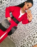 Wholesale Nobles Sweater - Wholesale- 2016 autumn winter women brand clothing faux fox fur pockets slit long sweaters Lady fashion noble knitted cardigans trench coat