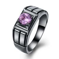 Wholesale Amethyst Silver Ring Men - Christmas Gift Ring Charming Purple Amethyst Black Gun Plated Silver Women Men Genuine Free Shipping Ring Size 6 7 8 9 LKN18KRGPR1087-D
