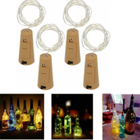 Wholesale Yellow Glass Bottles - Multi Color 1M 10LED 2M 20LED Lamp Cork Shaped Bottle Stopper Light Glass Wine LED Copper Wire String Lights For Xmas Party Wedding Decor