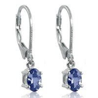 Wholesale Natural Blue Tanzanite - 100% Natural Tanzanite Earrings Clip Gemstone Jewelry Real Pure Genuine 925 Solid Sterling Silver 2015 Brand New Gift For Women