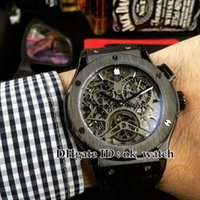 Wholesale watches classic tourbillon - High quality Luxury Brand Classic Tourbillon skeleton Men s Automatic Watch Rubber strap mm Black steel Gents new watches H12