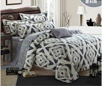 juegos de hoja gris tamaño gris al por mayor-Juego de cama de lujo de plata geométrica king size queen gris funda de edredón cama de diseño en una bolsa de edredones sábanas doona tencel lijado