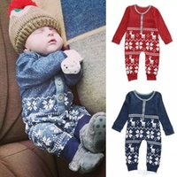 Wholesale Jumpsuit Wholesale Free Shipping - 2016 Xmas Deer Baby Boys Girls rompers Infant Knit Romper christmas perfect gift kids Jumpsuit Bodysuit cotton Clothes Outfits free shipping