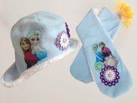 Wholesale Embroid Girl - Colorful Frozen Scarf Hat Set Cartoon Elsa Anna Cap Kids Winter Embroid Ricamo Collar Headwear Baby Girls Christmas Gift 20Set Free Ship