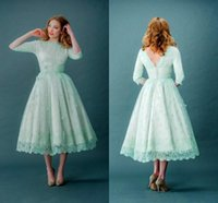 Wholesale Mint Prom Dress Knee Length - 2016 Vintage Lace Prom Dresses Bateau Neck Half Sleeves Mint Green Tea Length Spring Plus Size Backless Party Dresses With Sleeves