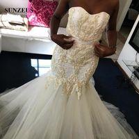 Wholesale Strapless Beach Wedding Bride - 2017 Luxury Pearls Beaded Wedding Dresses Mermaid Sweetheart Strapless African Bridal Gowns Trumpet Bride Dress vestido de noiva