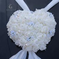 Wholesale Wall Mirror Mount - Genie Heart Shaped Garland Wedding Car Decoration Artificial Foam Rose Pearls Handle Mirror Door Decor Diy Wreath Fake Flowers