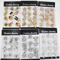 Wholesale Small Flower Brooches - 12PCS Mixed Design Small Flower Brooches Cake Brooch Cute Collar Brooch Pins Stunning Diamante Women Costume Pins