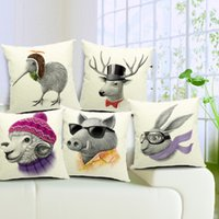 Wholesale Wild Birds - 5 Styles Animals Wild Boar Kiwi Bird Sheep Deer Hare Rabbit Pattern Cushions Pillows Covers Linen Cotton Pillow Case Cushion Cover Present