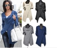 Frauen Pullover stricken Poncho Baumwolle unregelmäßigen Single Button Pullover Frauen Herbst Winnter lose Strickjacken SET