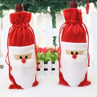 Wholesale Spandex Table Covering - Free DHL Red Wine Bottle Cover Bags Christmas Dinner Table Decoration Home Party Decors Santa Claus Christmas Supplier