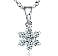 Wholesale Snow White Plates - Top AAA Diamond Austria Snow Flower Crystal Six Draw Cubic Zircon 925 sterling silver Pendant necklace For Wedding Dress Sets Party