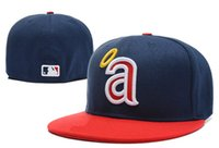 Wholesale 3d Embroidery Hats - Free shipping MLB Anaheim Angels Baseball Cap 3D Embroidery Logo Cooperstown Fitted Hats Adult Fit Cap