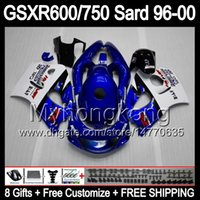 Wholesale Suzuki 1997 - 8Gifts Fairing For SUZUKI GSXR600 GSXR750 SRAD 96-00 GSXR 600 750 MY12 GSX R600 R750 96 97 98 99 00 1996 1997 1998 1999 2000 Body Blue white