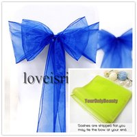 "Wholesale Wedding Chair Sashes Royal Blue - Free shipping--25pcs Royal Blue 8"" (20cm) W x 108"" (275cm) L Sheer Organza Sashes Wedding Party Banquet Chair Organza Sash Bow"