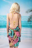 Wholesale Dress Black Matrix - 2014 new Fashion spaghetti strap beach dress , beach towel leaves black-matrix big spaghetti strap women's bikinis