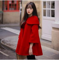 Wholesale Camel Poncho Coat - Korean Fashion Coat Women 3 4 Sleeve Casual Loose Woolen Blend Cashmere Autumn Winter Coat Cloak Poncho Cape Camel Red