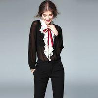 Wholesale Chiffon Blouses Designs - New Arrival Classic Design Women Summer Fashion Plus Size XXXL Ruffles Shirts Bow Collar Casual Chiffon Blouse Black Tops