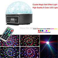 Wholesale Lcd Light Balls - High quality 18w lcd 6 LED 6 colors Remote Control DMX512 Digital Crystal Magic Ball Effect Disco DJ DMX Stage party light w19