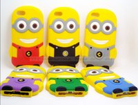 Wholesale Despicable Iphone4 - Lovely Model Soft Silicon Material Despicable Me Yellow Minion Cover Shell For Apple iPhone4 4S iPhone4S 4 Moblie Phone Case:LS6