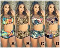 Wholesale Print Bikinis - 2015 Sexy Women Push up Bandage Bikini Set Sunset Coconut Palm 3D Print Tank Bra Swimsuit & Shorts Swimwear Bathing Suit 2pcs KF898 Sample