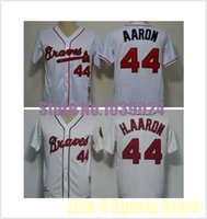 Wholesale Online Cheapest Shorts - 30 Teams-Wholesale NWT Atlanta Braves #44 Hank Aaron Jersey White Cream MN 1963 Embroidery Baseball Jerseys Best Quality New Cheapest Online