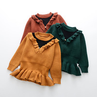 Wholesale Crochet Girl Pullover - Everweekend Kids Girls Knitted Patchwork Ruffles Sweet Baby Sweater Tops Crochet Knitting Pullover Ruched Girls Sweater