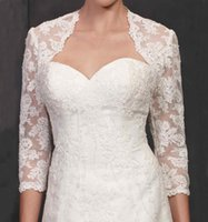 Wholesale Bridal Lace Bolero Pearls - Modern Lace Jackets for Wedding Dresses 2015 from Eiffelbride with Beautiful Shining Pearls Lace Applique 3 4 Long Sleeve Bridal Wraps