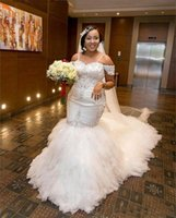 свадебное платье оптовых-Русалка свадебные платья кружева аппликация бретельках короткие рукава с плеча плюс размер свадебные платья vestidos де novia