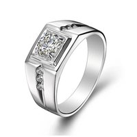 Wholesale cubic zirconia wedding rings online - Fashion Brincos crystal Silver Rings for Women Men Aneis Jewelry Wedding Engagement Ring Anillos J473N lovers