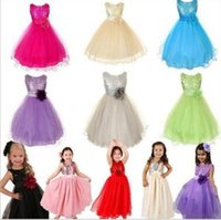 Wholesale Rose Tutu Dress Kids - 2016 New Summer Baby Dress Top Quality Kids 3D Rose Flower Dress Girls Sleeveless Sequin Dress Princess Party Dress Bow tutu Dress 0053
