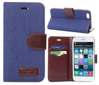 For Apple iPhone Textile iPhone 4 QUALITY JEANS PU LEATHER WALLET CASE COVER FOR NEW APPLE iPHONE 6 plus 5.5""