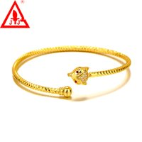 brazaletes de rubí de oro al por mayor-24 K Gold Filled Bangles de Calidad Superior Nueva Llegada de Lujo Fox Ruby CZ Venta Caliente Ajustable Para Mujeres Hombres Joyería Fina Envío gratis