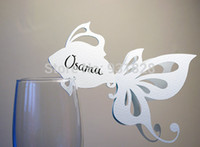 Wholesale Cheap Glass Wine Glasses Wholesale - Wholesale-Cheap Place Cards, Sea Themed Wedding, Wine Glass Decor, Golden Fish, Ocean Theme name card table decor wine glass markers