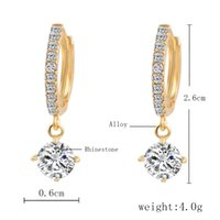 Wholesale fashion bijoux online - Austrian Crystal Stud Earrings For Women Gold Silver Brinco Bridal Wedding Earring Bijoux Femme Earrings Fashion Jewelry Big Earrings
