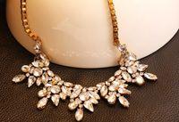 Wholesale Crystal Spike Collar - resin crystal necklace cluster flower za necklace spike bib chunky necklace&pendants women statement bib choker statement collar