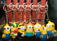 Wholesale Minion Top Wholesale - A style Top Quality 3D DespicableMe Minion Action Figure Keychain Keyring Keyring Cute Promotion Gift Card Package Keychain