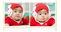 Wholesale Knit Santa Hat Baby - 10PCS Crochet Hats Rabbit Baby Caps Santa Christmas Children's Gifts Protect Ears Knitting Fedora children's hat